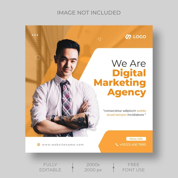 Digital marketing corporate social media and instagram post template Free Psd