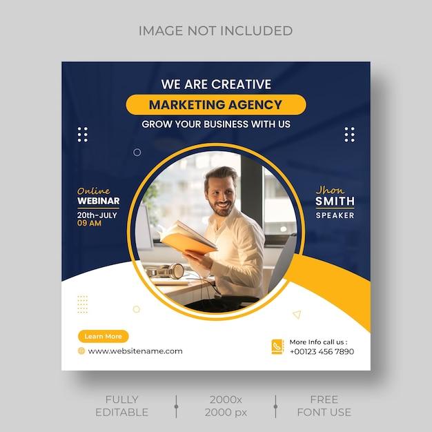 Digital marketing corporate social media live webinar and instagram post template Free Psd