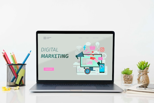 Digital marketing desk concept Premium Psd