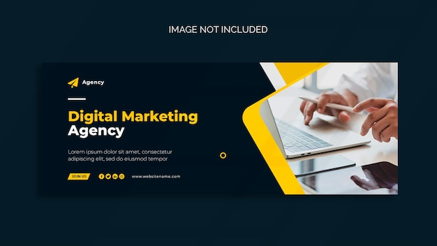 Цифровой маркетинг обложка facebook и шаблон веб-баннера Бесплатные Psd