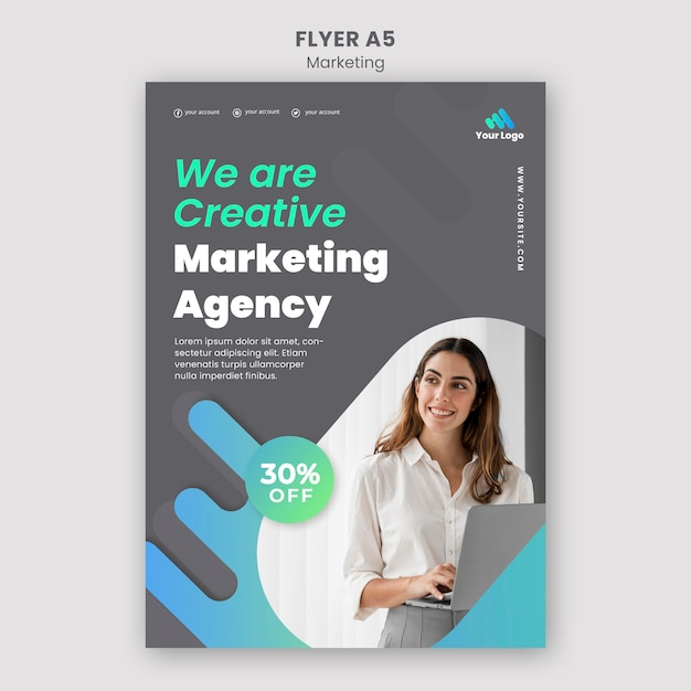 Digital marketing flyer template Free Psd