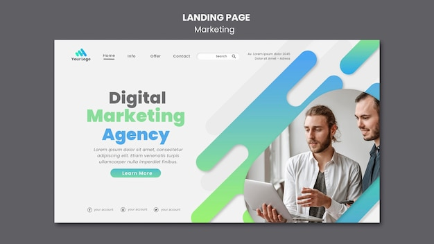 Digital marketing landing page template Free Psd