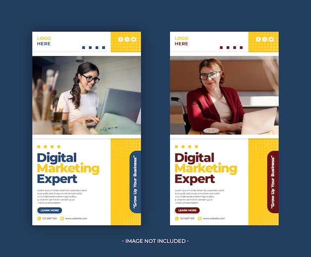 Digital marketing social media banner design template psd Premium Psd