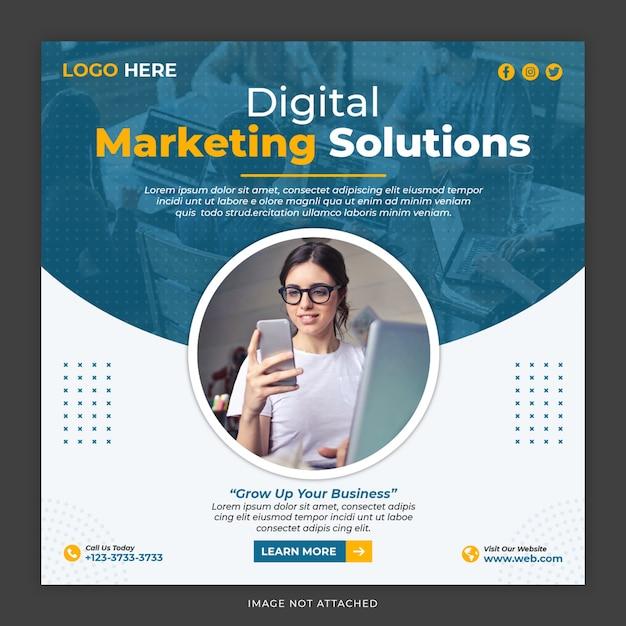 Digital marketing solution social media post template Premium Psd