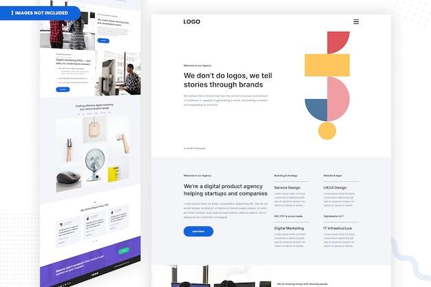 Шаблон страницы веб-сайта агентства цифровых продуктов Premium Psd