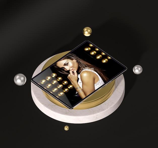패션 여자와 디지털 태블릿 무료 PSD 파일