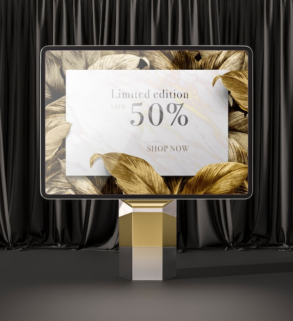 황금 잎 전면보기와 디지털 태블릿 무료 PSD 파일