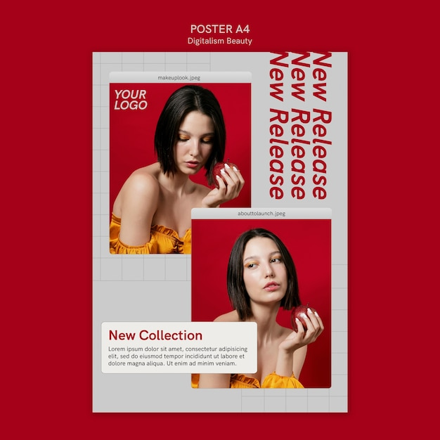 Digitalism beauty poster template with photo Premium Psd