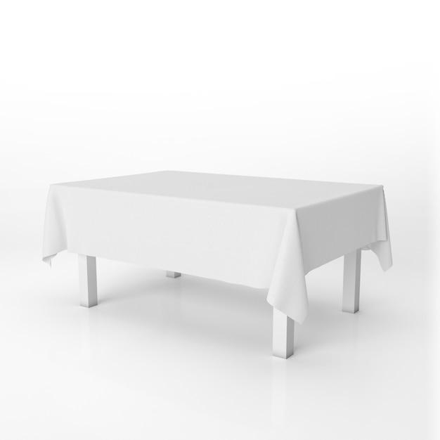 白い布でダイニングテーブルのモックアップ 無料 Psd