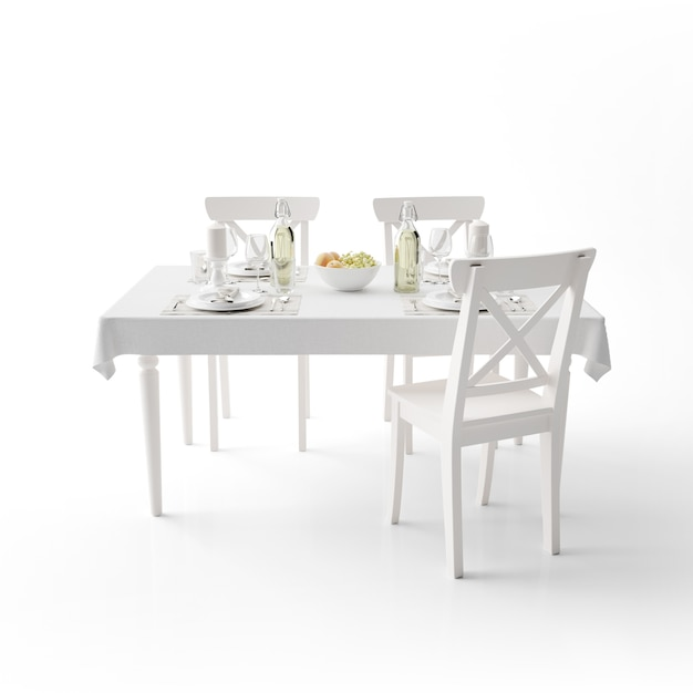 白い布とモダンな椅子のダイニングテーブルのモックアップ 無料 Psd