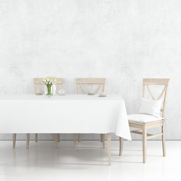 白い布と木製の椅子とダイニングテーブルのモックアップ 無料 Psd