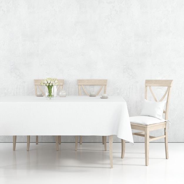 Dining table mockup with white cloth and wooden chairs Free Psd