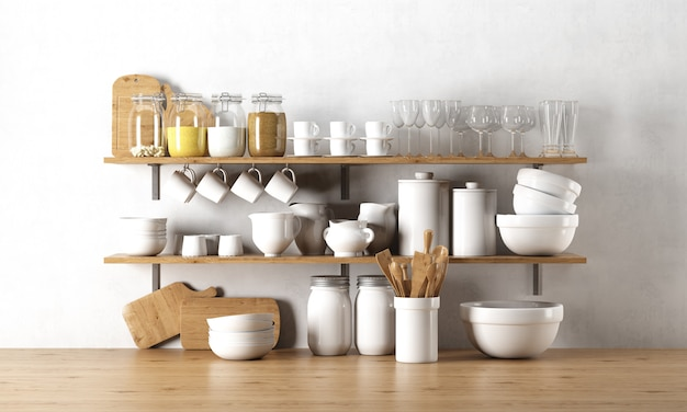 Dinnerware elements on wooden shelf Free Psd