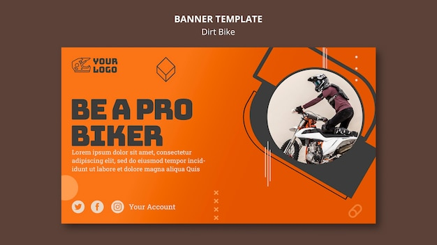 Dirt bike ad banner template Free Psd