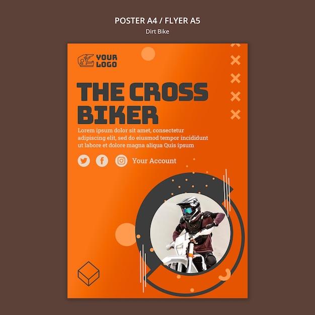 ダートバイクの広告ポスターテンプレート 無料 Psd