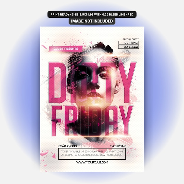 Dirty friday party poster PSD file | Premium Download