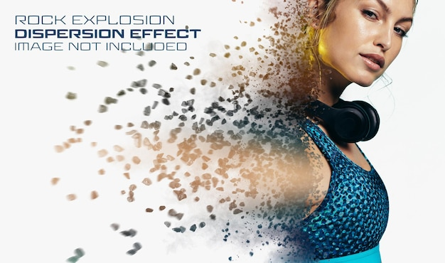 Rock explosionmockupによる分散写真効果 Premium Psd