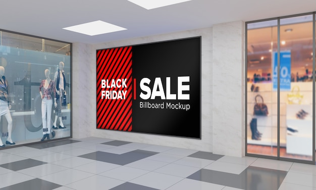 Display sign board on wall mockup in shopping center with black friday sale banner Premium Psd