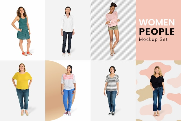 Diverse women mockup collection Free Psd