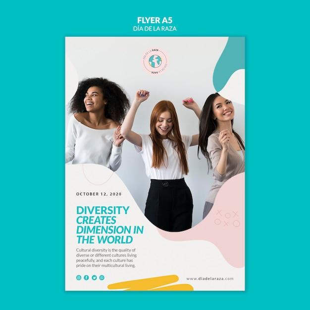 Разнообразие создает измерение в мире флаера Бесплатные Psd