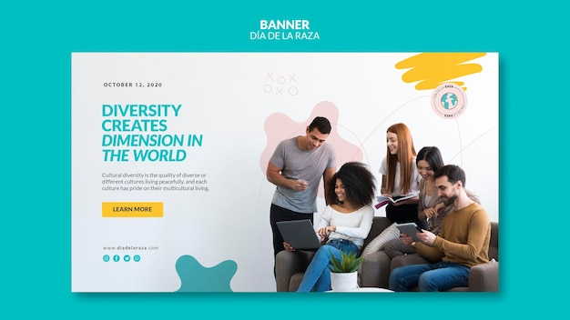 Diversity creates dimension in the world banner Free Psd