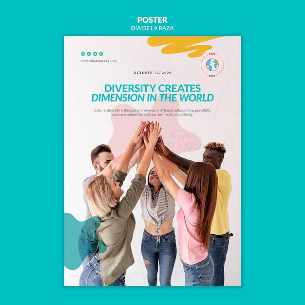 Diversity creates dimension in the world poster Free Psd