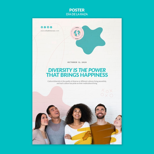 Diversity is the power that brings happiness poster template Free Psd