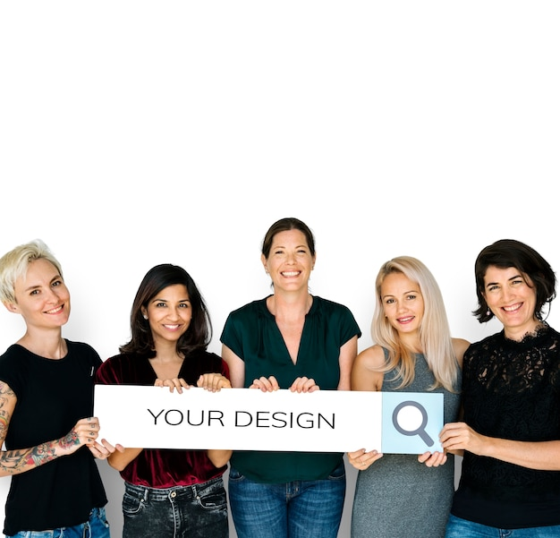 Diversity women hands hold search box magnifying glass Premium Psd
