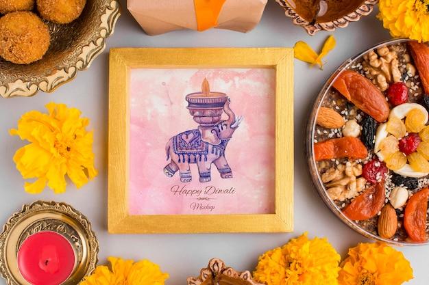 Elefante di mock-up del telaio di festa di diwali festival Psd Gratuite