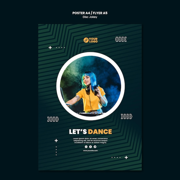 Dj let's dance poster template Free Psd