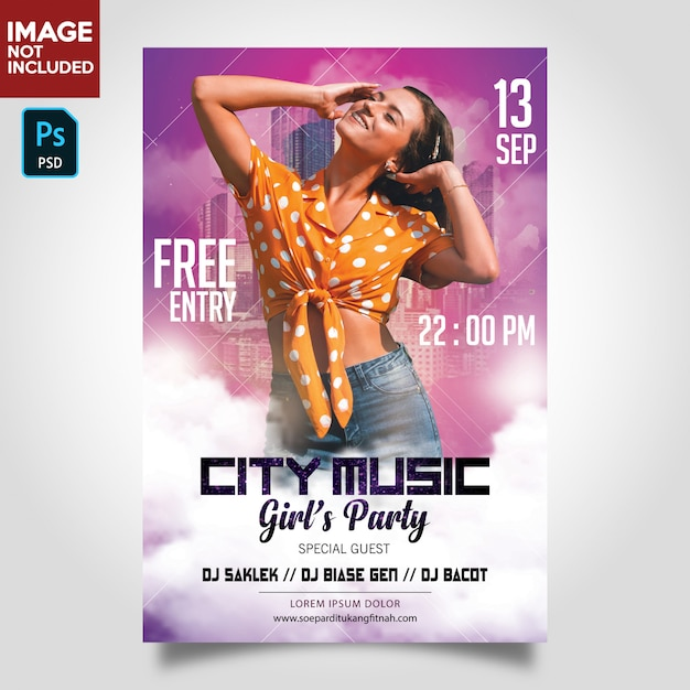 Dj music party flyer template Premium Psd