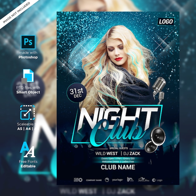 Dj night party rock creative poster print ready Premium Psd