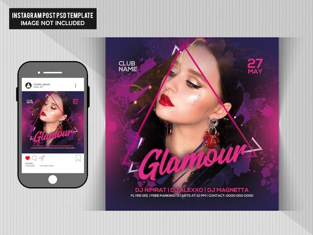 Dj party flyer для instagram Premium Psd