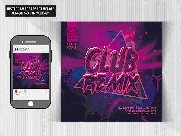 Dj party social media post template Premium Psd