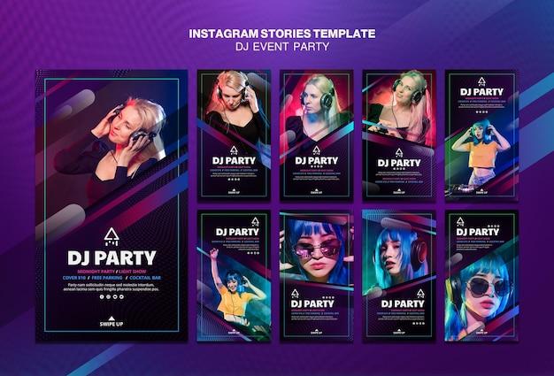 헤드폰 instagram 이야기와 dj 파티 여자 무료 PSD 파일
