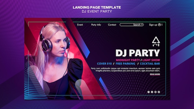 Dj party woman with headphones landing page Free Psd