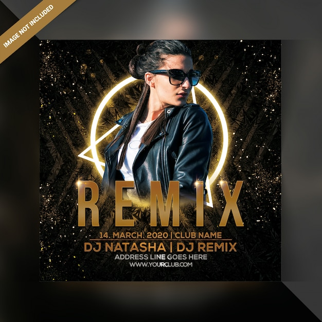 Dj remix party flyer Premium Psd