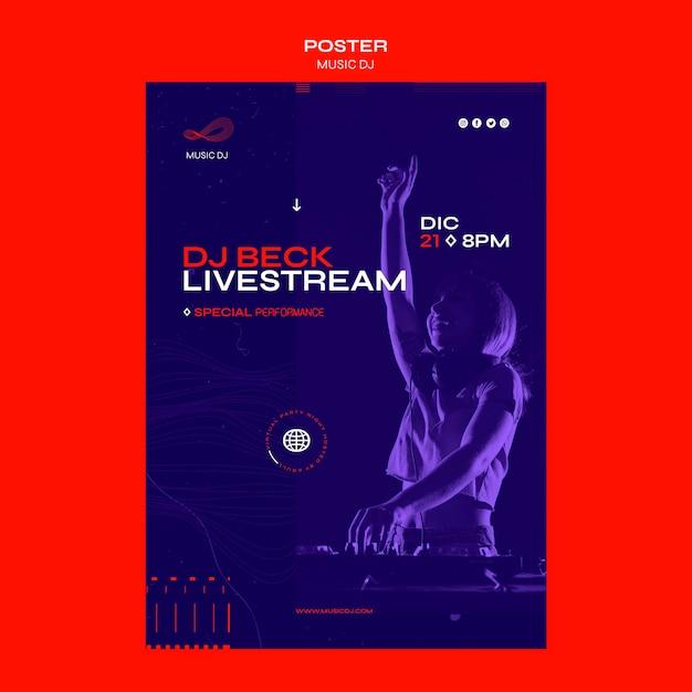 Dj 라이브 스트림 포스터 템플릿 설정 무료 PSD 파일