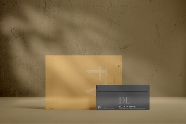 큰 봉투 모형이있는 dl 봉투 무료 PSD 파일