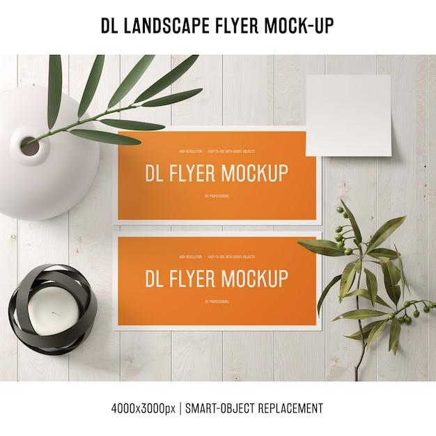 Dl landscape flyer mockup with plants PSD file | Free Download
