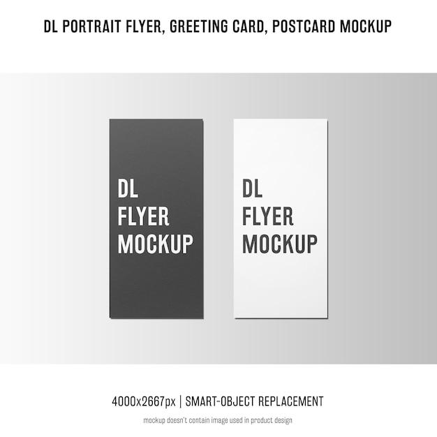 Dlポートレートチラシ、ポストカード、グリーティングカードのモックアップ 無料 Psd