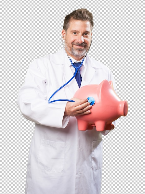 Doctor man taking care of a piggy bank Premium Psd
