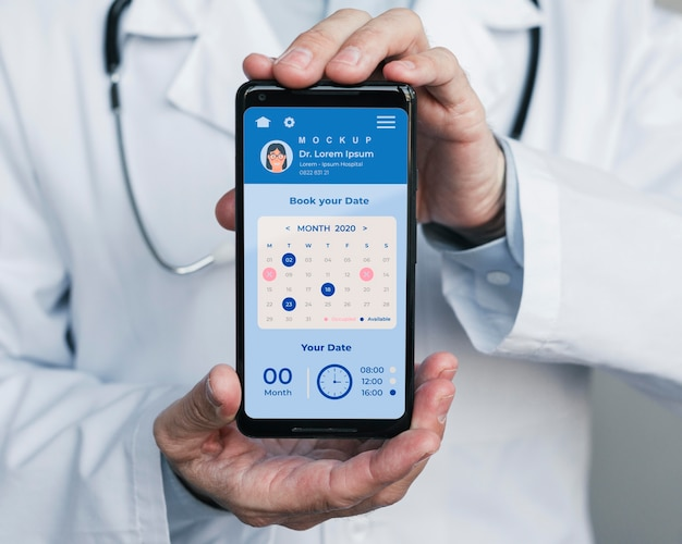 Doctor's helpline on mobile phone held by doctor Free Psd