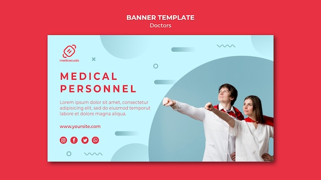 Doctors with cape banner template Free Psd