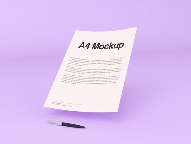 Document on purple background mock up Free Psd