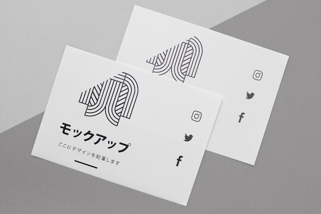 ドキュメントと封筒アジアのモックアップ 無料 Psd