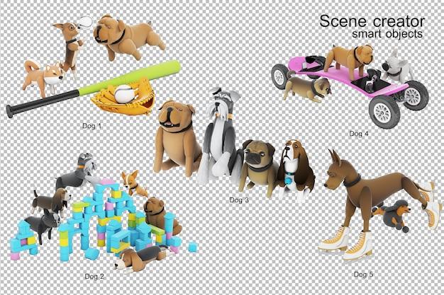 3d визуализация деятельности собаки Premium Psd