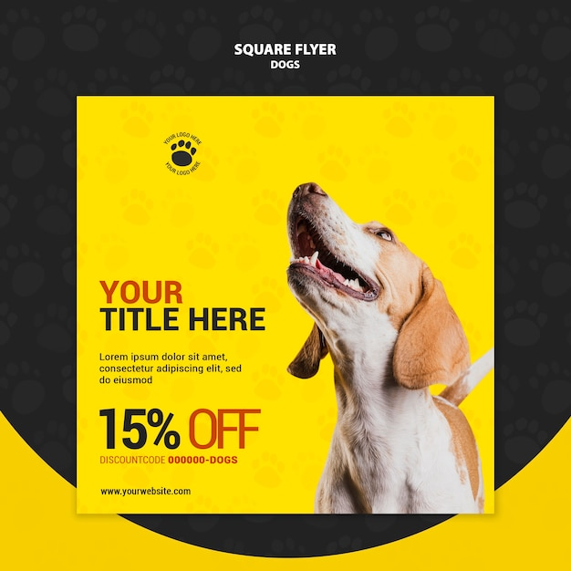 Dog discount code square flyer style Free Psd