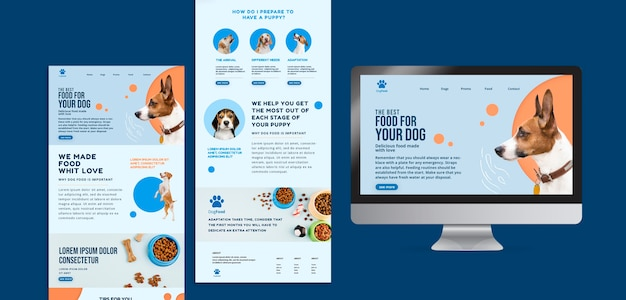 Dog food app and website template Free Psd