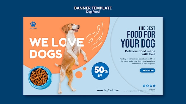 Dog food banner template Free Psd